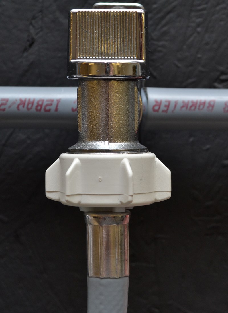 water pipe connection to the cold tap